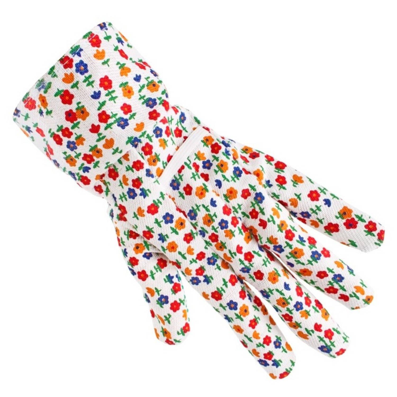 Korting Tuinhandschoenen werkhandschoenen Met Rode Bloemetjes Tuinartikelen Werkhandschoenen Klusartikelen