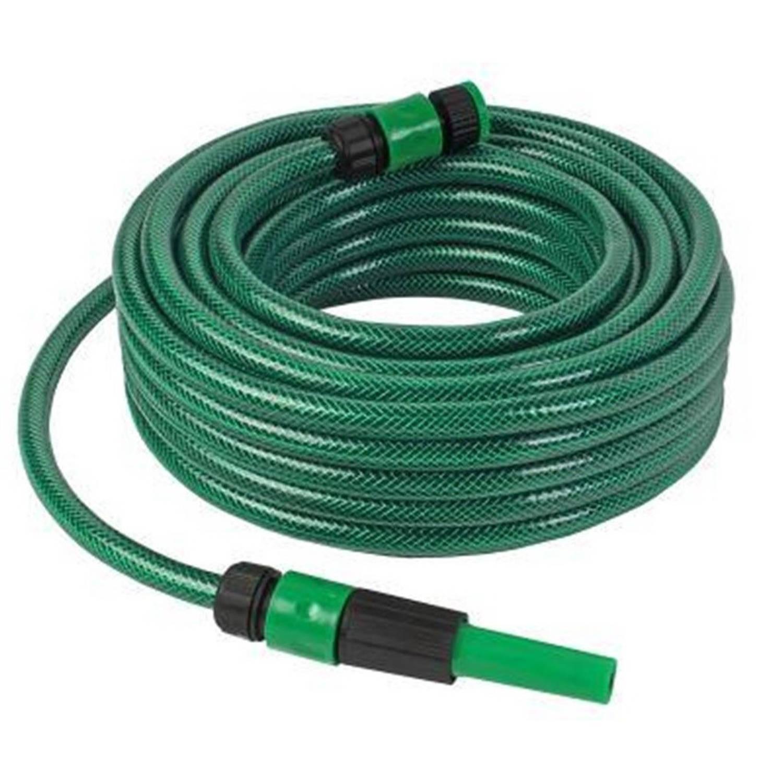 Groene Tuinslang Set Met Koppelingen En Verstelbare Spuit - 15 Meter - Tuinbewatering