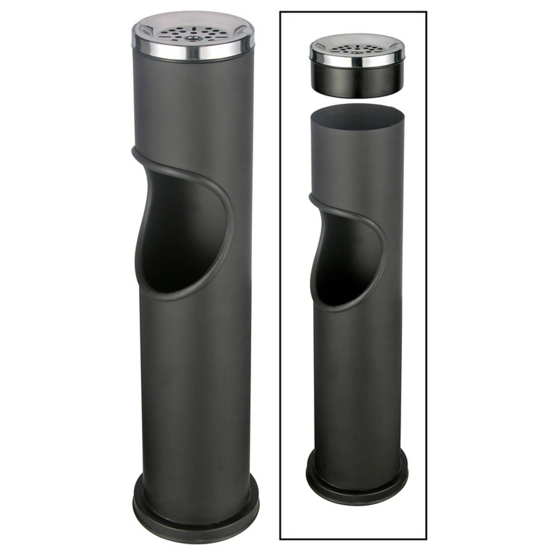 Zwarte staande asbak met uitneembare prullenbak 46,5 cm - Buiten asbakken - Tuin artikelen