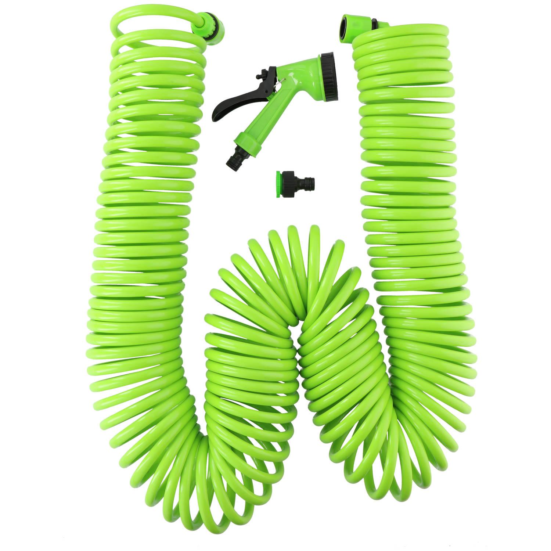 Kinzo Garden Tuinslang Spiraal - Spiraalslang - 5-delig - 1x Kraanaansluiting - 2x Slangconnector -