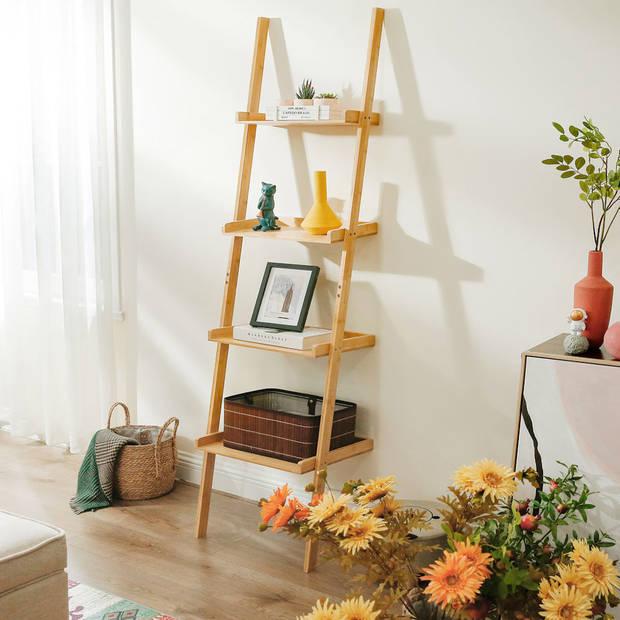 Ladderrek van bamboe hout - Houten decoratie ladder - Open ladderkast
