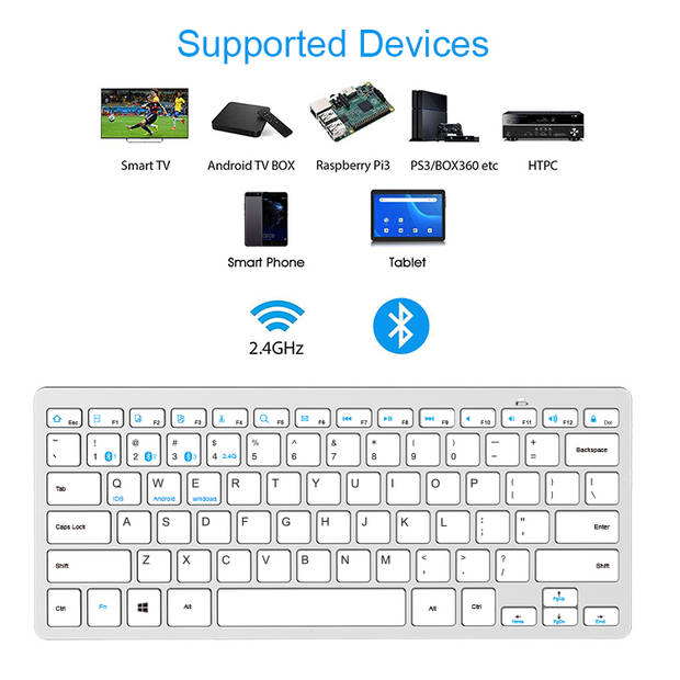 Silvergear Draadloos Toetsenbord - Dun - Laptopformaat - Verbind via USB Receiver en Bluetooth - Wit
