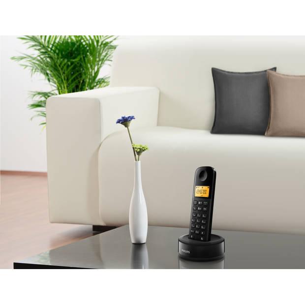 Philips D1601B - Draadloze DECT-telefoon met 1 handset, groot display (4,1 cm) en nummerherkenning - Zwart
