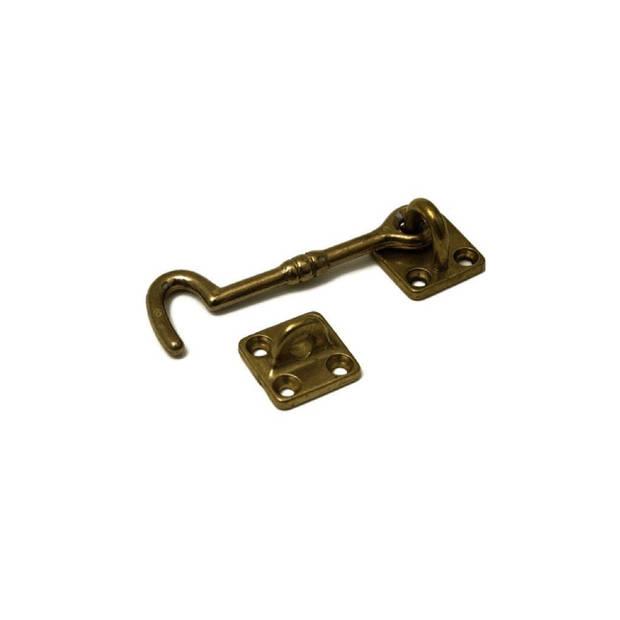 1x stuks kajuithaak / kajuithaken messing gepolijst 5 cm - windhaken - deurvastzetters / raamvastzetters / raamhaakjes