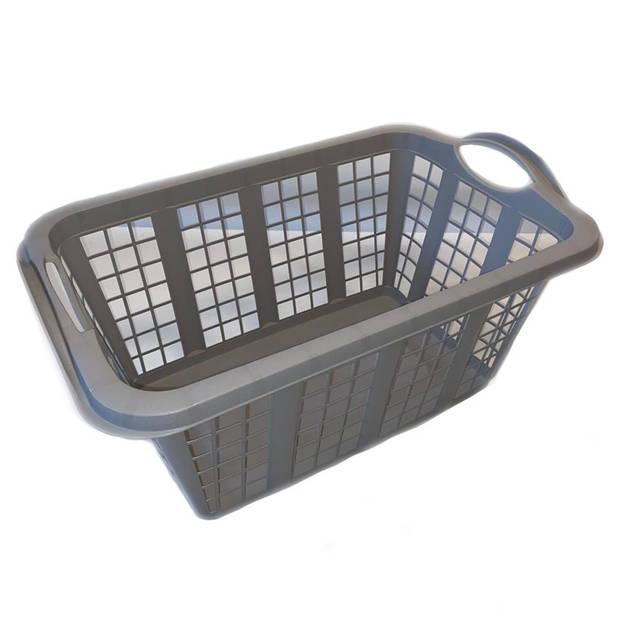 Grijze wasmand met handvatten 60 cm - Draagwasmanden - Wasgoedmand - Mand met handvatten