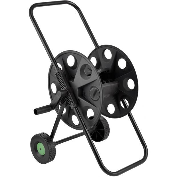 Zwarte tuinslanghaspel/slangenwagen - Voor 50 meter slang - Tuinslangenwagen - Tuinier/tuinslang benodigdheden
