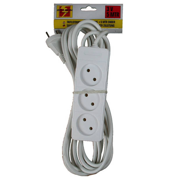 Stekkerdoos 3-voudig wit - 5 meter - Witte stekkerdozen - Verlengsnoeren/verlengkabels