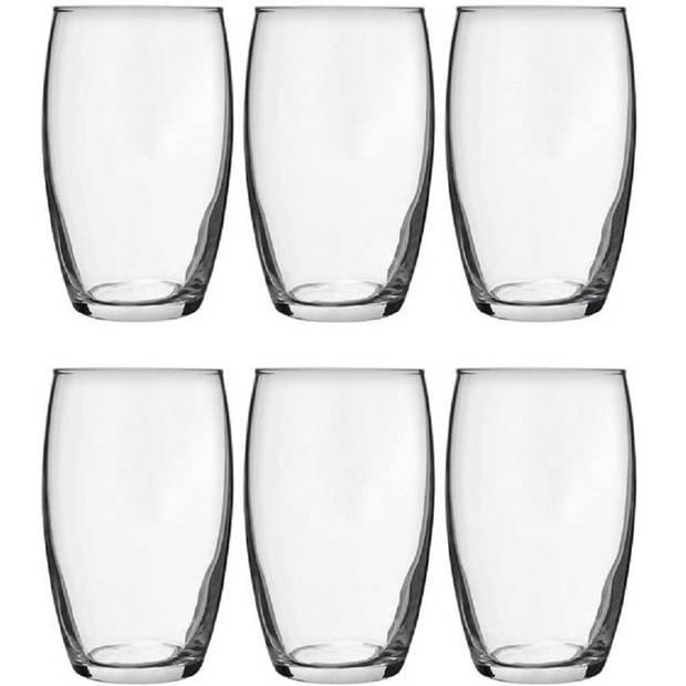 6x Tumbler waterglazen 360 ml - Luxe drinkglazen - Glas - Glazen voor frisdrank/water