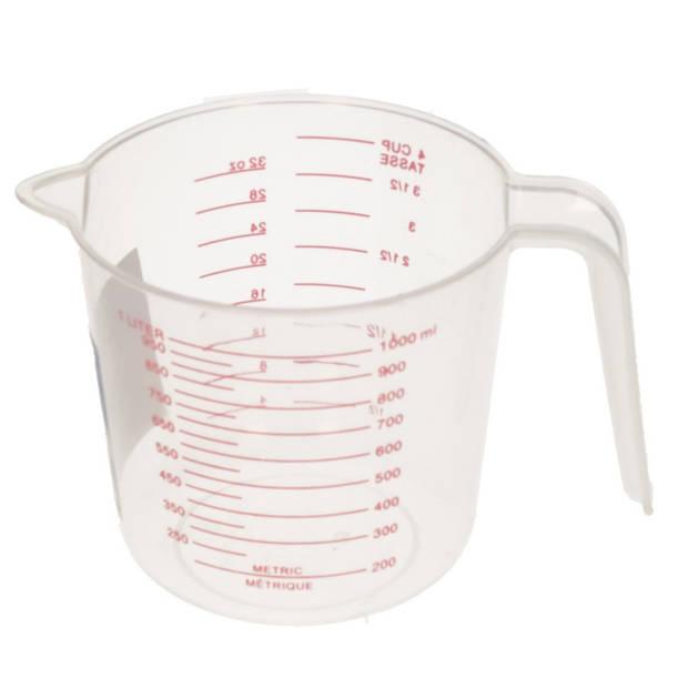 Voordelige kunststof maatbeker 1 liter - 1000 ml - Keuken/kookbenodigdheden - Maatbekers - Vloeistoffen afmeten
