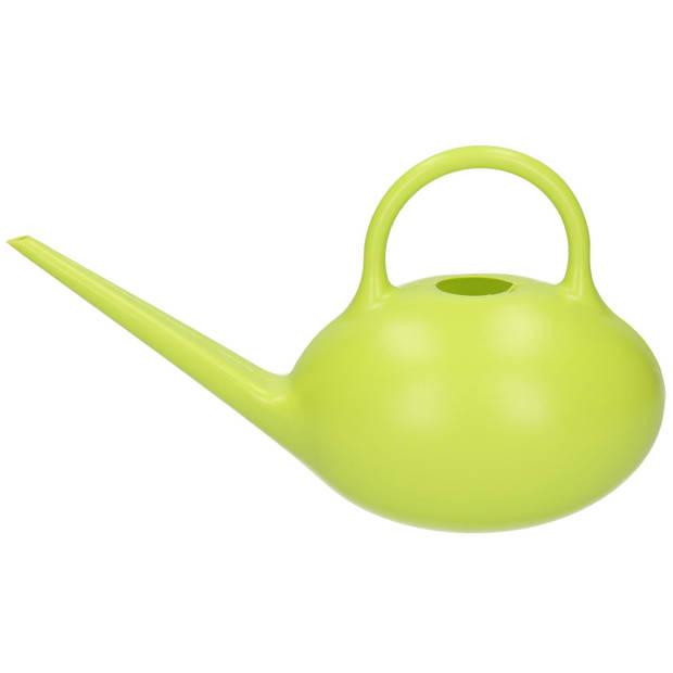 Gieter theepot model groen 1 liter - Planten bewatering - Tuinartikelen/tuinieren - Kamerplanten/kruidentuin verzorging