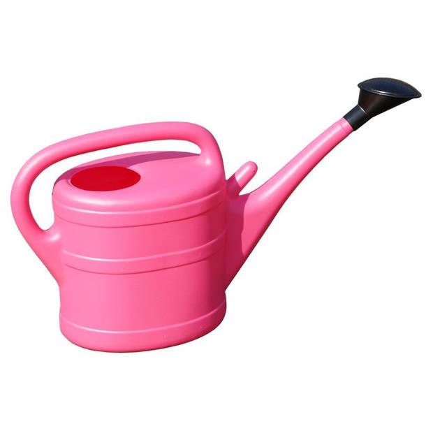 1x Roze gieter met broeskop 10 liter - Tuin/tuinier benodigdheden - Planten water geven - Gieters roze
