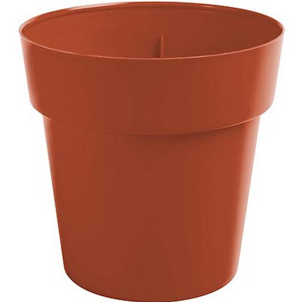 Terracotta ronde plantenpot/bloempot Melisa 25 cm kunststof - Onbreekbare plantenbakken/bloembakken - Tuin decoraties