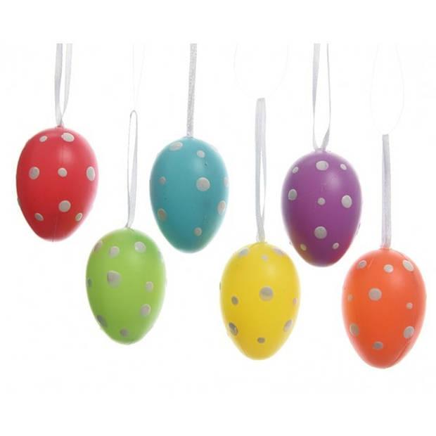 6x Pasen decoratie paaseieren in vele kleuren van 6 cm - Paastakken versieringen/decoraties kleur met stippen paaseitjes