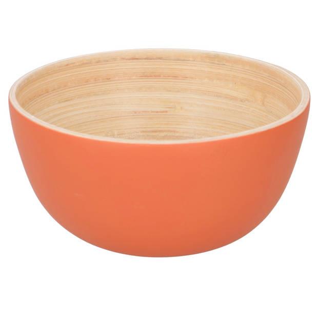 Oranje schaaltje van bamboe - Soepkom van bamboe oranje 10 x 10 x 5 cm - Schaaltje voor snacks/desserts