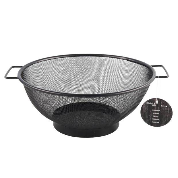 RVS keuken vergiet/zeef zwart 26 cm - Keuken/koken benodigdheden - Pasta/aardappels/groente afgieten - Zeven/vergieten