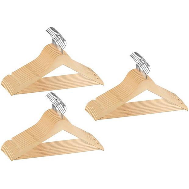 Set van 30x Houten kledinghanger antislip 45 cm - Kleding ophangen kledinghanger set