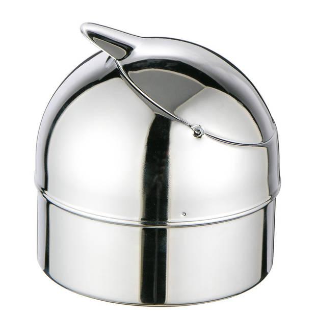 Zilveren klepasbak / terrasasbak 9 cm - Buiten asbakken - Tafelaccessoires - Tuin artikelen