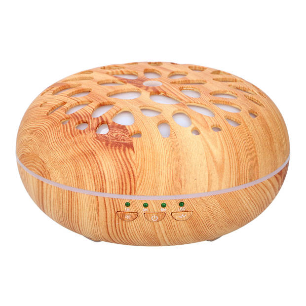 Grundig aromadiffuser - met timer - incl. usb-kabel - houtlook - verschillende LED kleuren