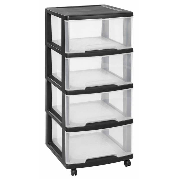 Curver Ladekast Essentials 80 L transparant en zwart