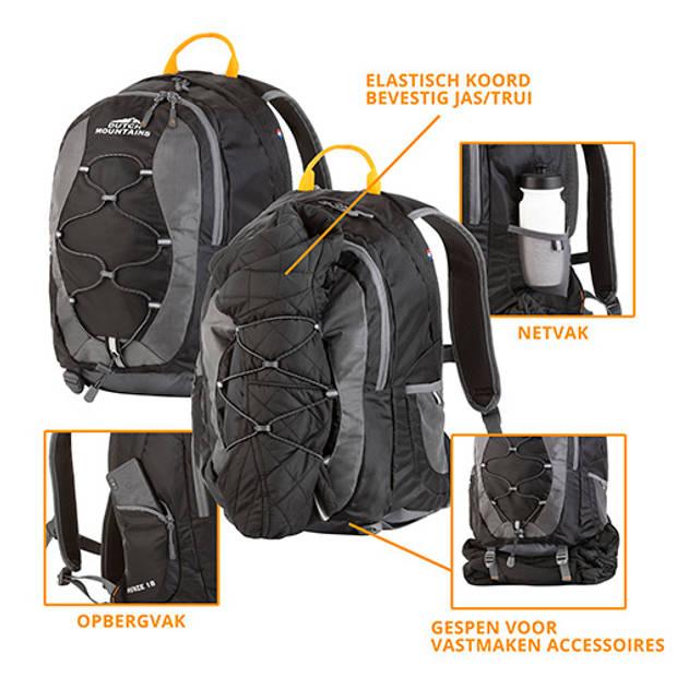 Dutch Mountains 'Hunze' Backpack Lichtgewicht Outdoor Rugzak Regenhoes Airflow Systeem 18 Liter Zwart