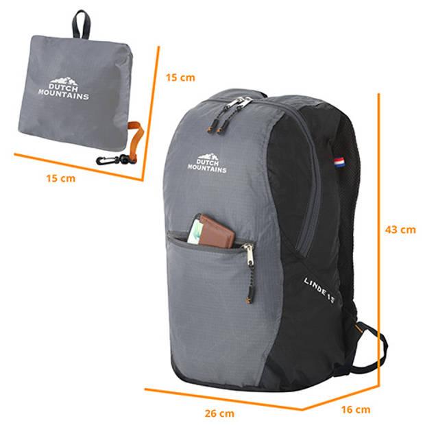 Dutch Mountains 'Linde' Opvouwbare Backpack Daypack Rugzak Opberghoes Superlicht 15 Liter Zwart