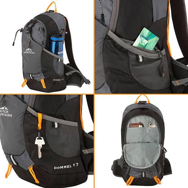 Dutch Mountains 'Dommel' Backpack Kleine Outdoor Rugzak Lichtgewicht Rugzak Hydratatie-opening 17 Liter Zwart