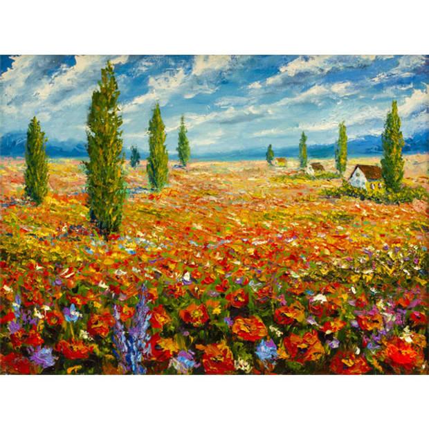 Schilderij Bloemen Landschap