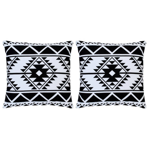 vidaXL Kussens 2 st bedrukt 40x40 cm katoen zwart en wit
