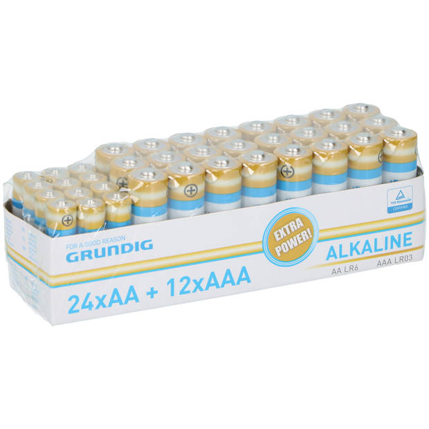 Grundig - Multi-pak - Alkaline Batterijen - 36 stuks - 24 AA + 12 AAA