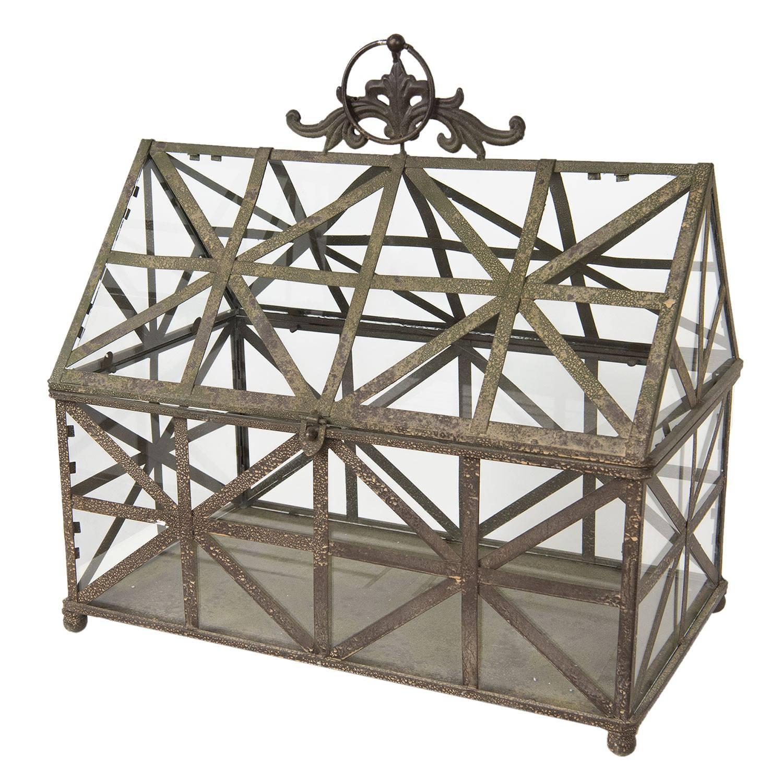 Clayre & Eef Decoratie kweekkasje 50*30*51 cm Grijs Ijzer-glas 50411