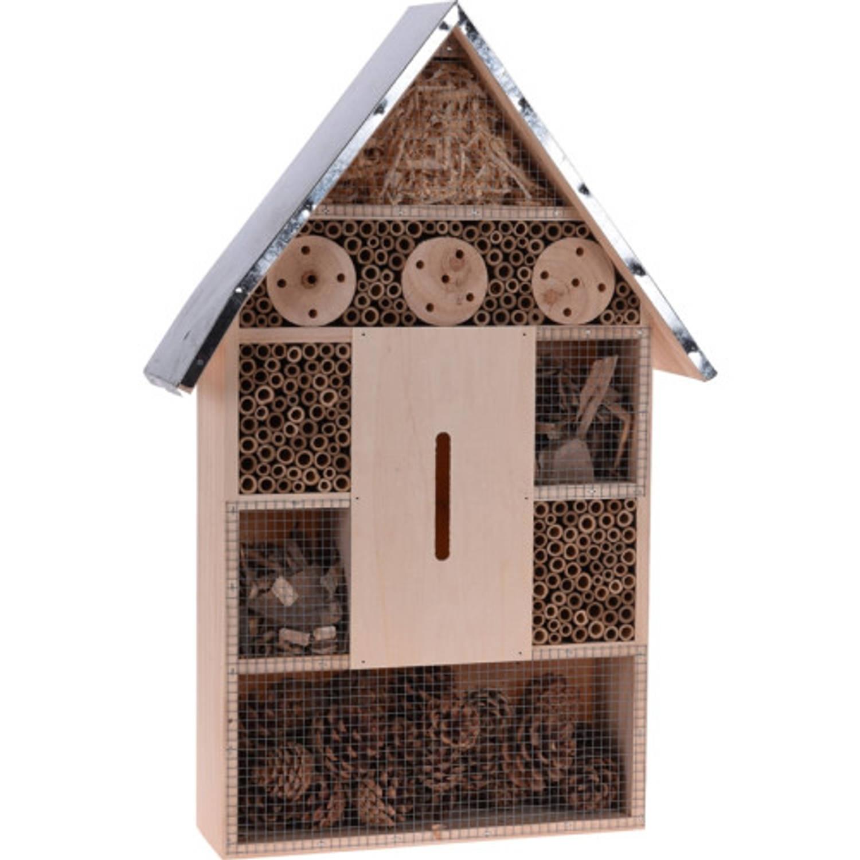 Koopman International Insectenhotel Met Metalen Dak 37 x 11 x 57 cm online kopen