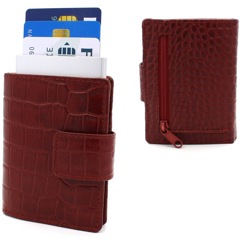 Figuretta leren RFID uitschuifbare creditcardhouder Portemonnee Anti skim pasjeshouder Croco Rood