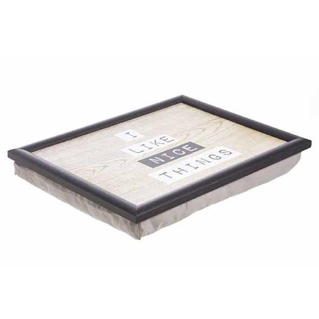 Schootkussen/laptray nice things houtprint 43 x 33 cm - Schoottafel - Dienblad voor op schoot