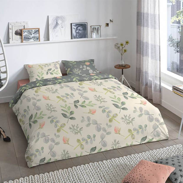 Good Morning Emma dekbedovertrek - Lits-jumeaux (240x200/220 cm + 2 slopen) - Katoen - Groen