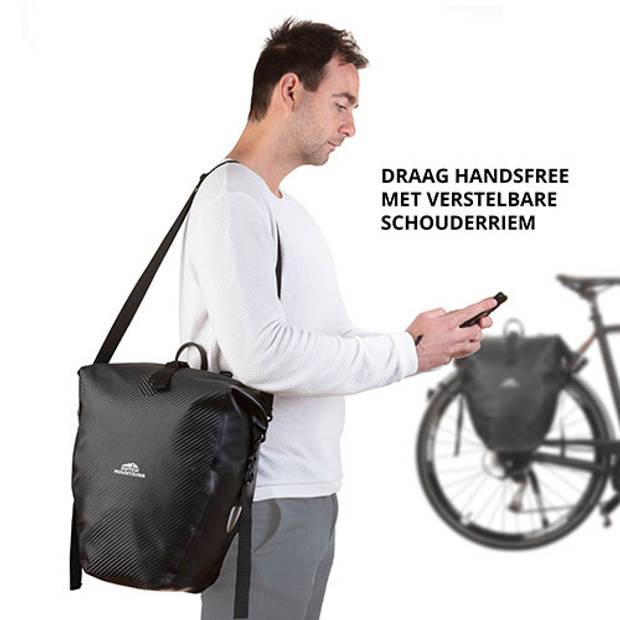 Dutch Moutains Enkele Fietstas Oersterke en 100% Waterdichte Fietstas en Schoudertas in 1 24 Liter Zwart