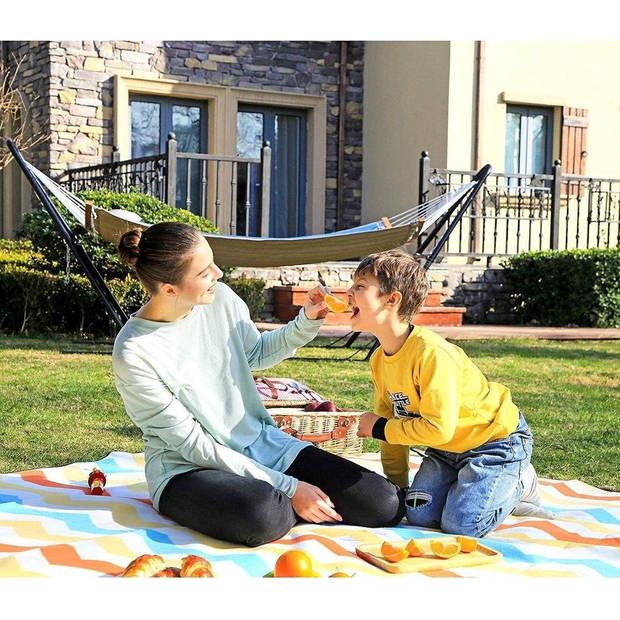 Picknickkleed waterdicht met handvat - buitenkleed 200x200cm van fleece - warmte-isolerend - Wave