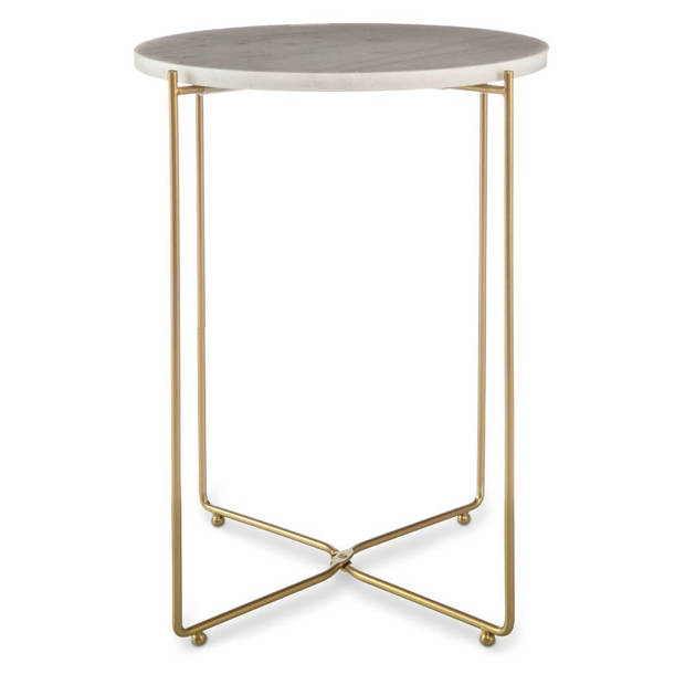 Blokker decoratietafel marmer - rond - 35x50 cm