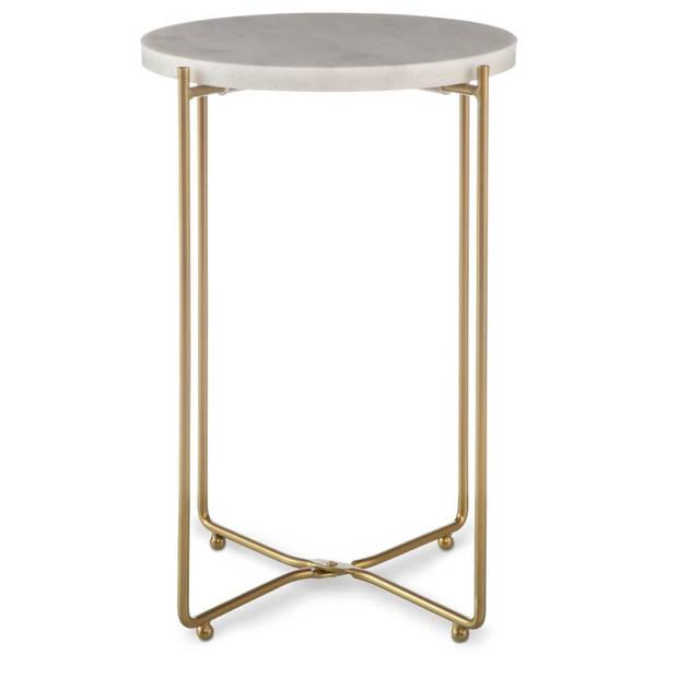 Blokker decoratietafel marmer - rond - 25x40 cm