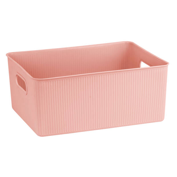 Blokker opbergbox ribbel 16L - Blush