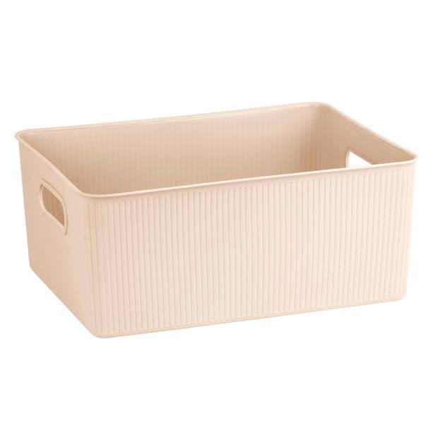 Blokker opbergbox ribbel 16L - Latte