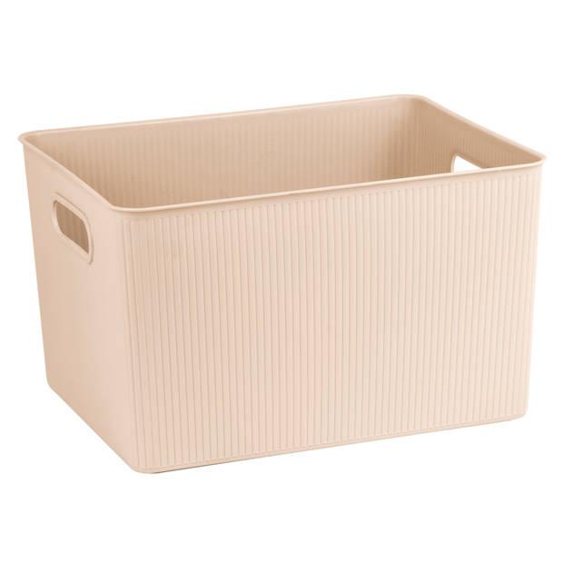 Blokker opbergbox ribbel 23L - Latte