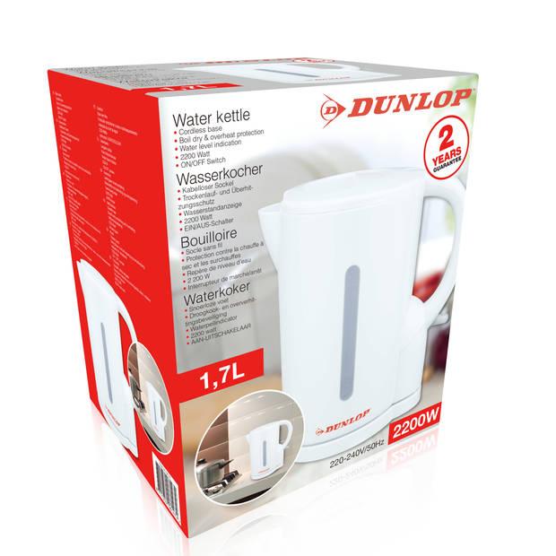 Dunlop waterkoker - wit - 1,7 l - 2200 W - snoerloos - waterpeil-indicator