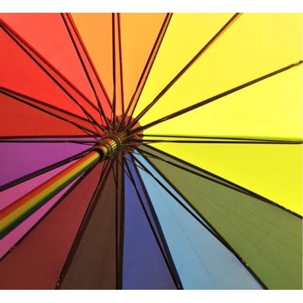 Luxe Paraplu Rainbow - Ø 112 cm - Regenboog - 16 kleuren