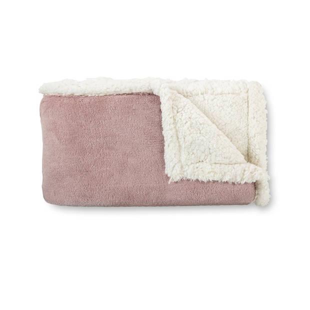 Blokker plaid sherpa - roze - 130x170 cm