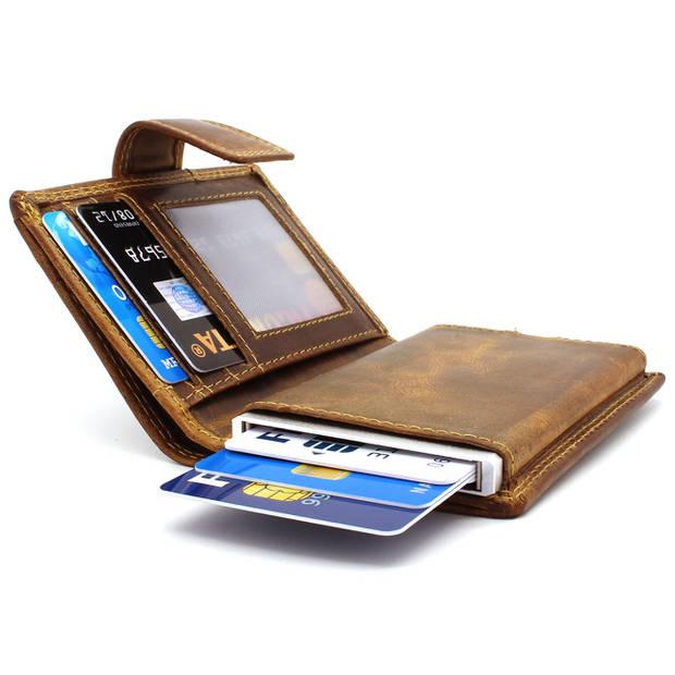 Figuretta leren RFID uitschuifbare creditcardhouder - Portemonnee - Anti skim pasjeshouder - Hunter Bruin
