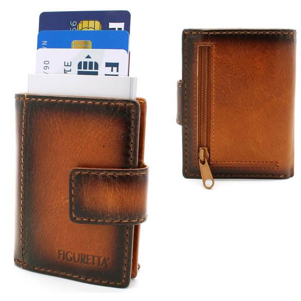 Figuretta leren RFID uitschuifbare creditcardhouder - Portemonnee - Anti skim pasjeshouder - Vintage Burned