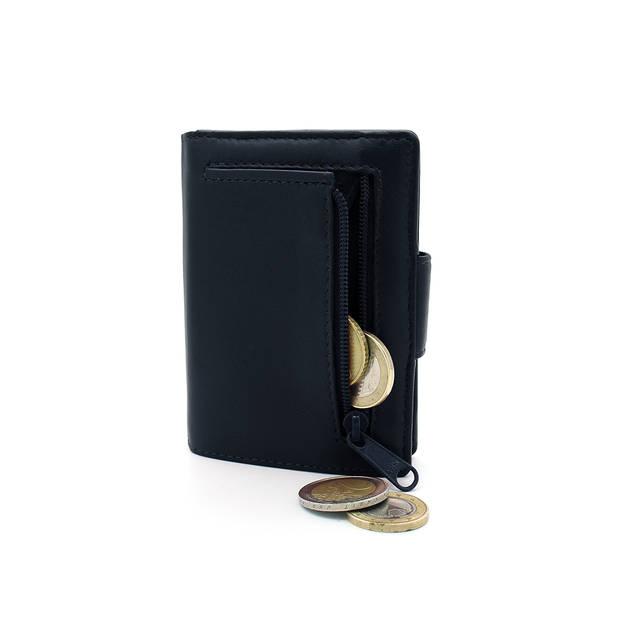 Figuretta leren RFID uitschuifbare creditcardhouder - Portemonnee - Anti skim pasjeshouder - Nappa Blauw