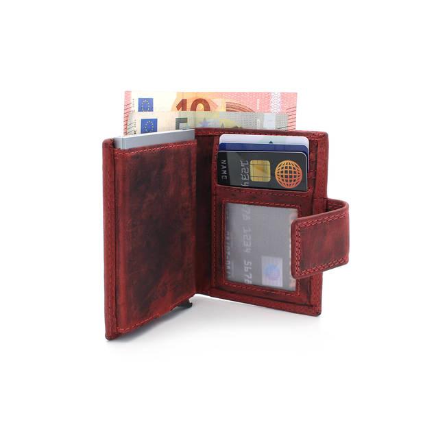 Figuretta leren RFID uitschuifbare creditcardhouder - Portemonnee - Anti skim pasjeshouder - Hunter Rood