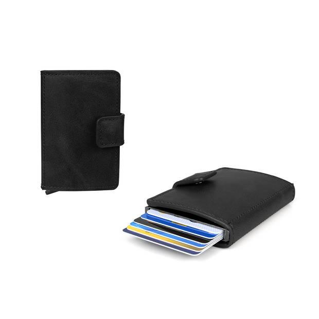 Figuretta RFID uitschuifbare creditcardhouder - Portemonnee - Anti skim pasjeshouder - Inclusief sleutelhanger - Zwart
