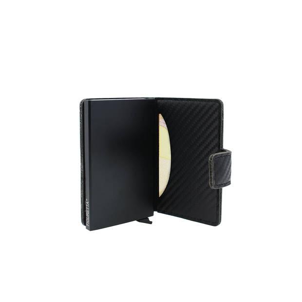 Figuretta RFID uitschuifbare creditcardhouder - Portemonnee - Anti skim pasjeshouder - Inclusief sleutelhanger - Cognac